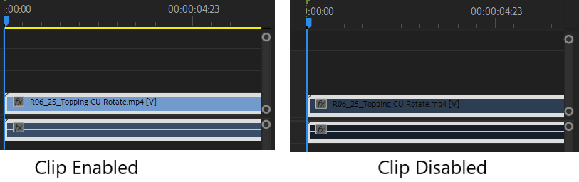 Premiere Pro Clip Enable vs Disable