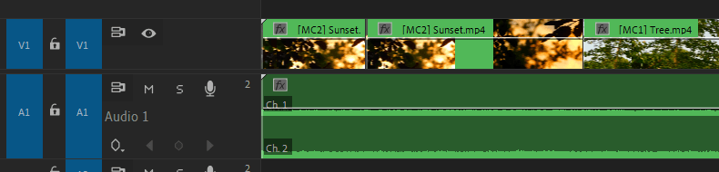 Premiere Pro: Edited Multi-Camera Sequence on Timeline