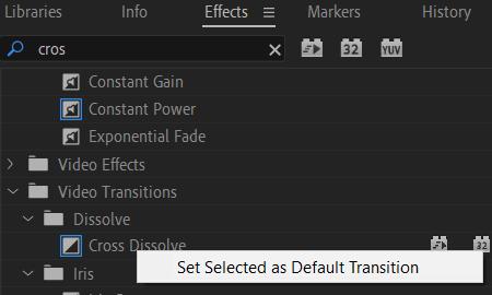 Premiere Pro: Default Transition Effect