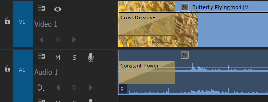Premiere Pro: Audio and Video Transition Applied